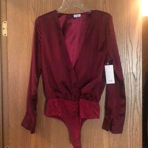 Red Satin Thong Bodysuit. (Never worn)